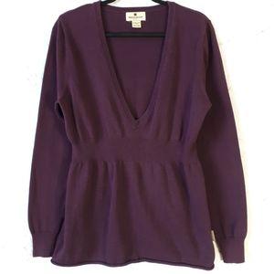 Woolrich Cotton Blend Deep V Cinched Sweater Med